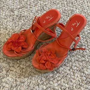 Try? Coral suede cork flower wedge platform 36